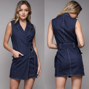 DO+BE Denim Mini Wrap Dress